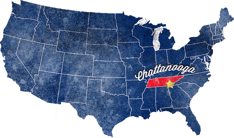 United States Map Grunge White Chattanoo