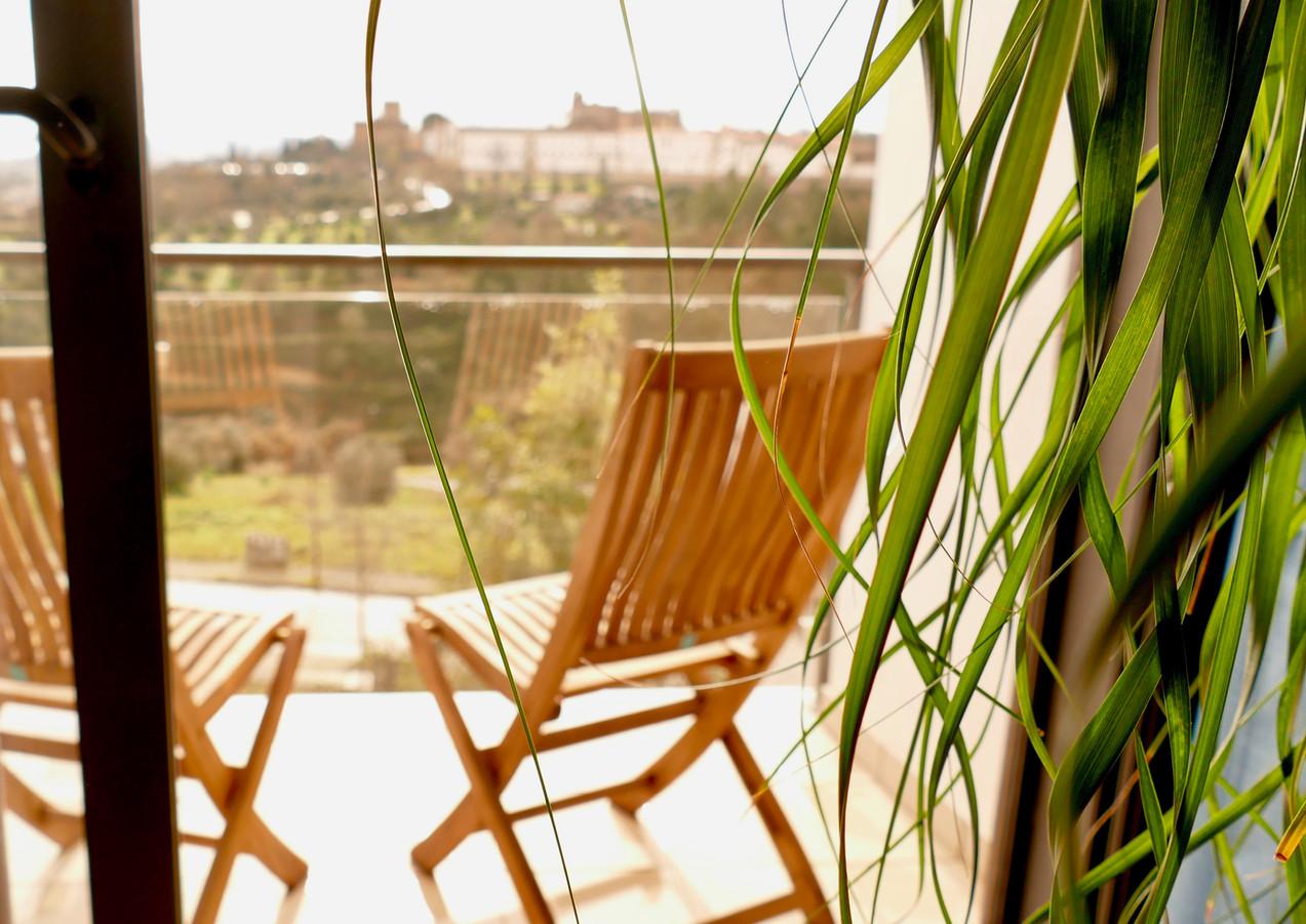 Castle-view bedroom private terrace
