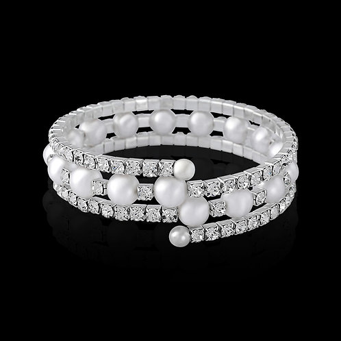 Crystal & Pearl Spiral Bracelet