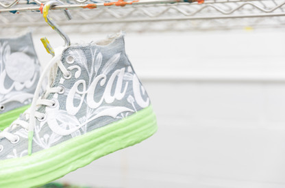 Kith Coca-Cola Converse Chuck Taylors Dripped, Hand-painted coca leaf, rubber drip soles in a soda lime green. Ben Smith Studios