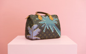 Hand Painted Louis Vuitton Speedy 25 in their signature monogram canvas with a free-hand painting adorned on the front and sides of this custom handbag.