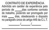Carimbo de contrato de experiência