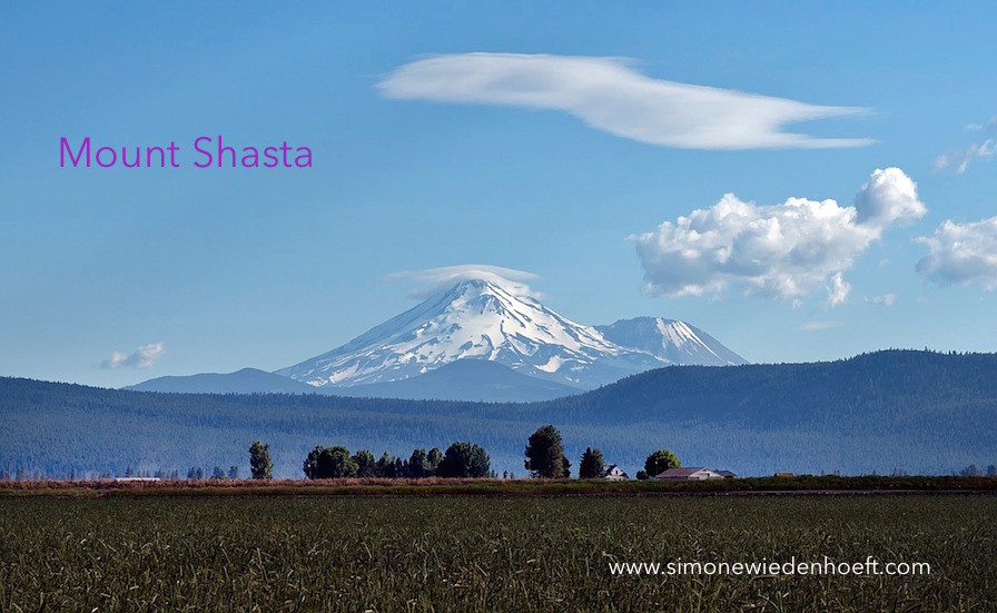 Mount Shasta with clouds in the sky