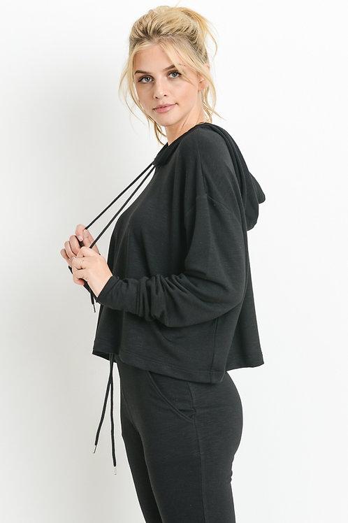 Slub Knit Cropped Hoodie Boxy Sweatshirt & Matching Cuffed Joggers
