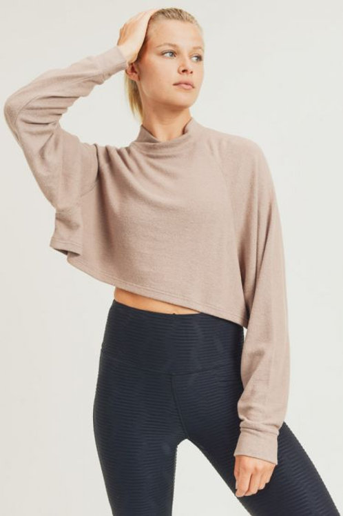 Cropped Fuzzy Boxy Raglan Long Sleeve Top