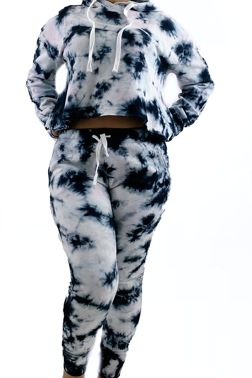 Tie Dye Pullover Hoodie& Matching Sweatpants With Drawastring