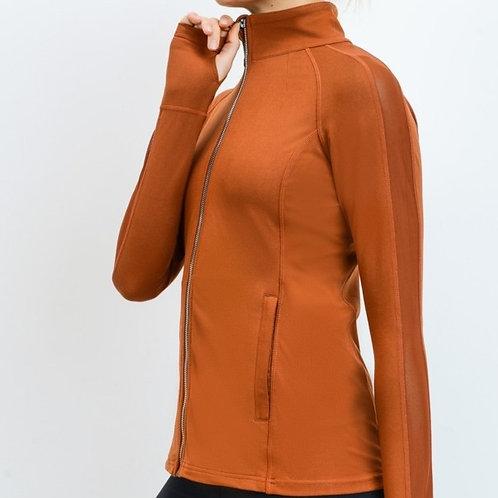 Mash-Panel Sleeve Hybrid Jacket & High Waist Matching Leggings