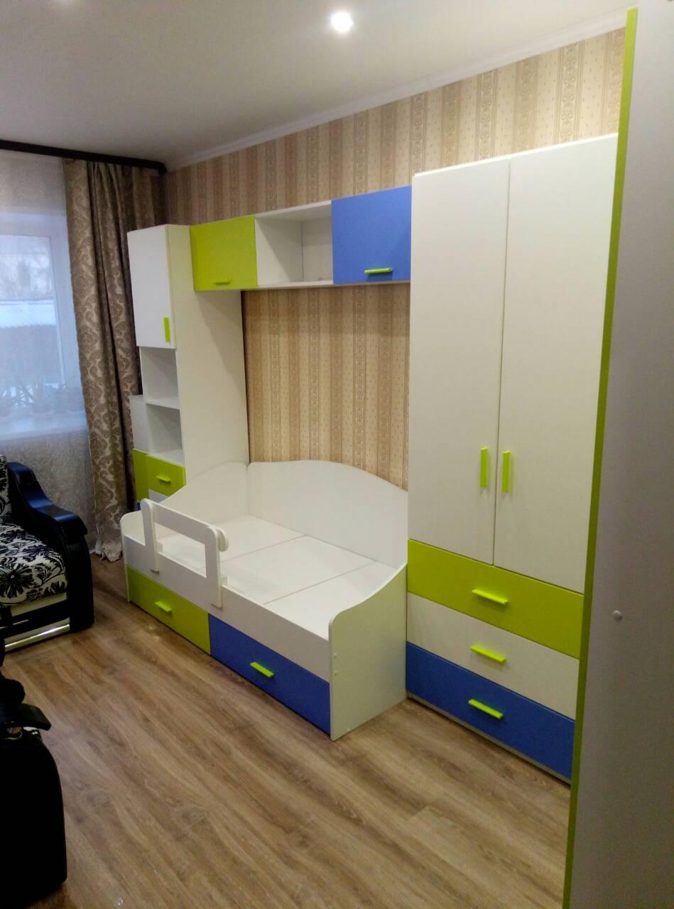 Мебель Радуга. Белый, Лайм, Голубой