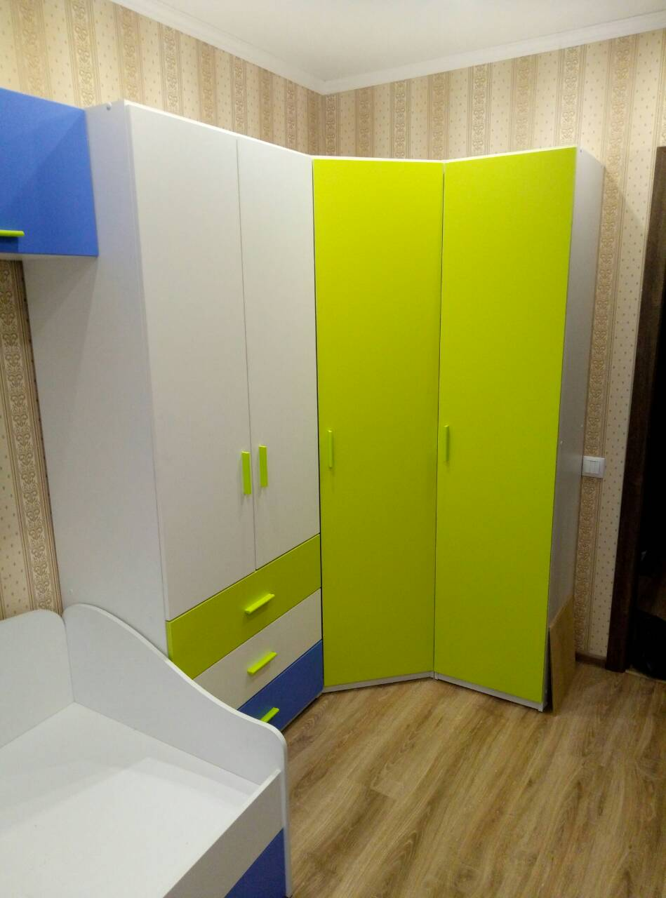 Мебель Радуга. Белый, Лайм, Голубой.