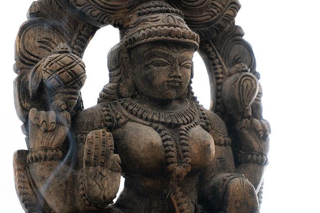 A wooden statue of the Hindu goddess Lak