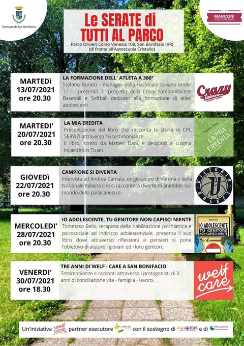 #TUTTIALPARCO 5 serate al Parco Olivieri di San Bonifacio