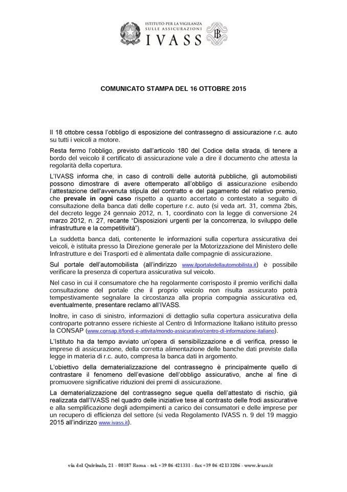 Comunicato Stampa IVASS RC AUTO