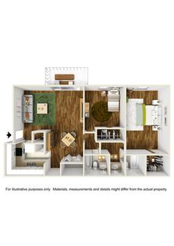 2 bedroom x 2 bathroom floor plan