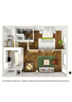 1 bed x 1 bath floor plan
