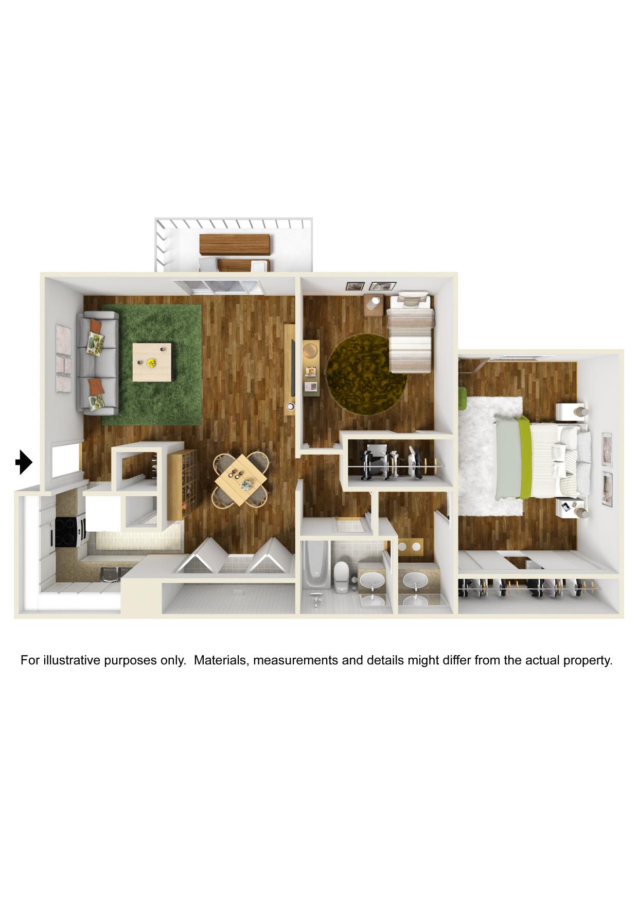 2 bedroom x 1 bathroom