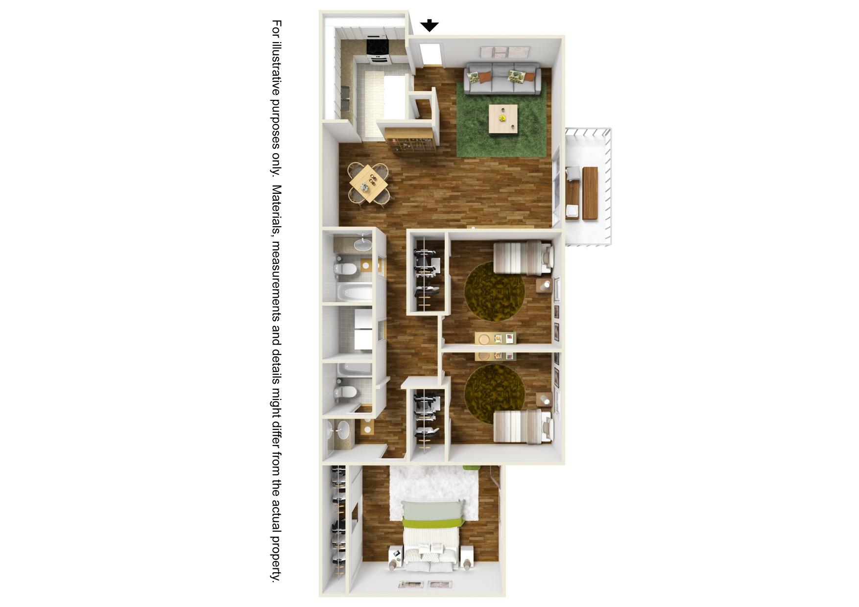 3 bedroom x 2 bathroom