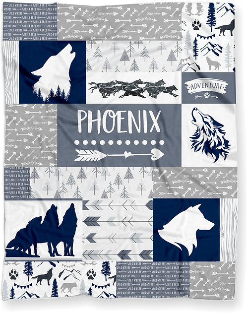 Personalized Woodland Wolf Pack Baby Blanket With Wolves