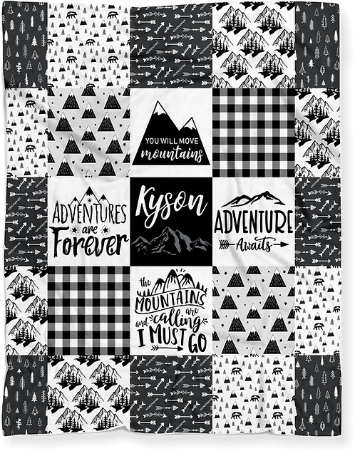 Personalized Woodland Mountains Baby Blanket - BLACK