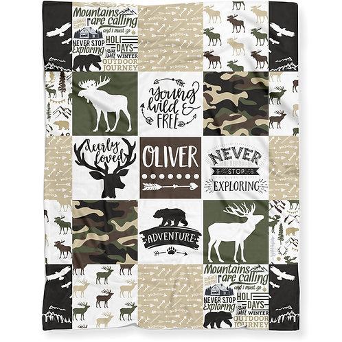 Personalized Woodland Hunting Camo Blanket, Soft Lightweight Minky Fleece | BOY