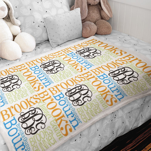 Personalized Baby Blanket for Boy | Monogram Minky Baby Blanket - Casual