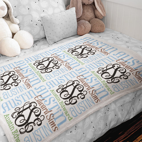 Personalized Baby Blanket for Boy | Monogram Minky Baby Blanket - Earthy