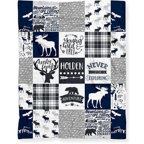 Personalized Woodland Moose Baby Blanket for Boy - Soft Lightweight Minky Fleece