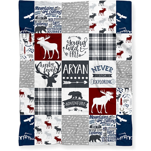 Personalized Woodland Moose Baby Blanket - Lightweight Minky Fleece | RED/BLUE
