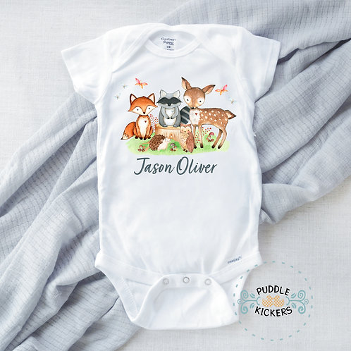 Personalized Woodland Forest Animals Onesie® For Baby Boy | Fox Raccoon Deer Owl