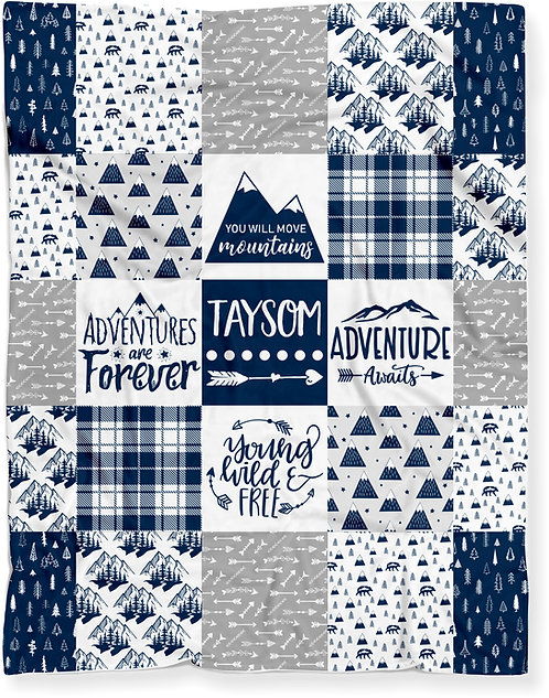 Personalized Woodland Mountains Baby Blanket Blue