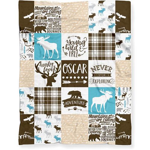 Personalized Woodland Moose Baby Blanket - Lightweight Minky Fleece | TEAL/BROWN