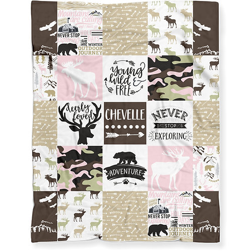 Personalized Woodland Hunting Camo Blanket, Soft Lightweight Minky Fleece | GIRL