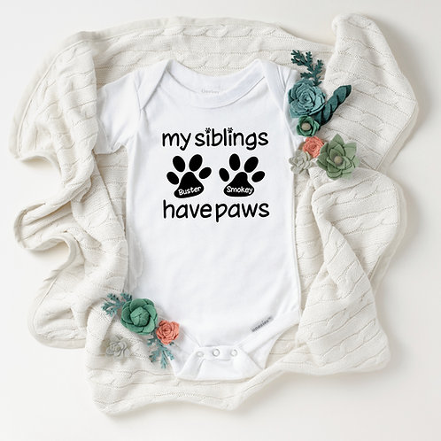 Personalized Dog or Cat Paw Onesie® - My Siblings Have Paws - Baby Shower Gift