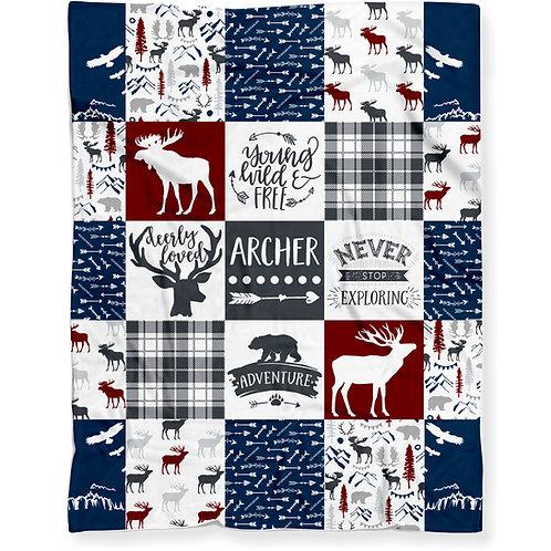 Personalized Woodland Adventure Blanket - Lightweight Minky Fleece   RED/BLUE