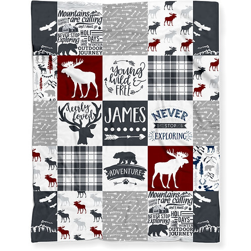 Personalized Woodland Moose Baby Blanket - Soft Lightweight Minky Fleece | RED