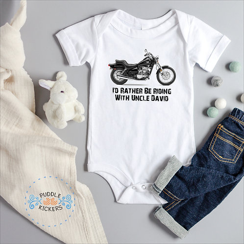 Personalized Motorcycle Onesie® | Cute Baby Shower Gift | I'd Rather Be Riding