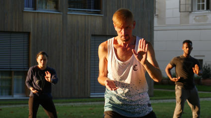 Tai-Chi for performers class at international physical theatre workshop in Austria