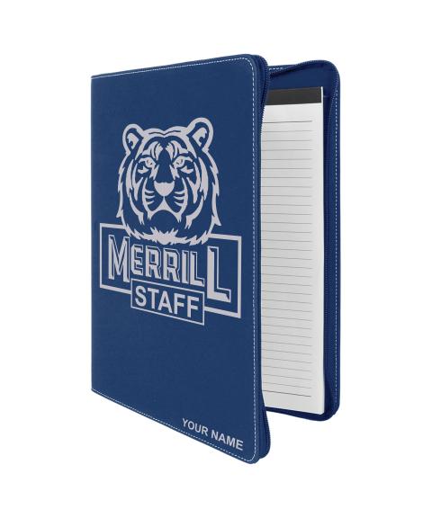 "Merrill Staff 9 1/2"" x 12"" Blue Leatherette Portfolio"