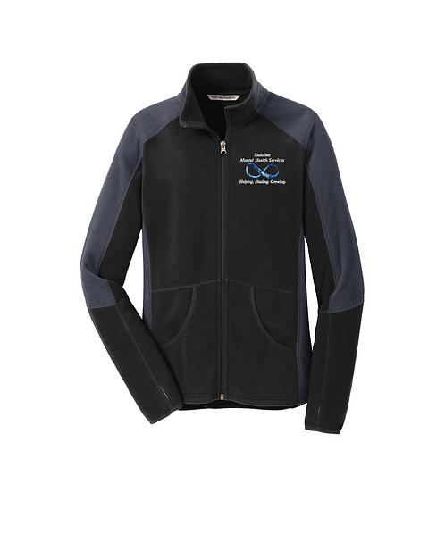 Stateline Mental Health Embroidered Black/Grey Colorblock Microfleece Jacket