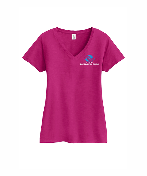Embroidered Ladies Stateline Boys & Girls Clubs V-Neck Tee