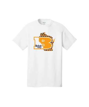 Beloit College White Port & Company® Core Cotton Tee w/ B in State of WI