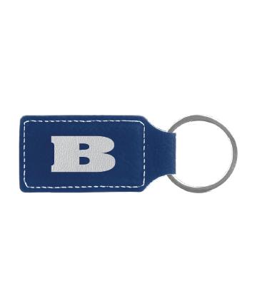 "Beloit College 2 3/4"" x 1 1/4"" Blue/Silver Leatherette Rectangle Keychain"