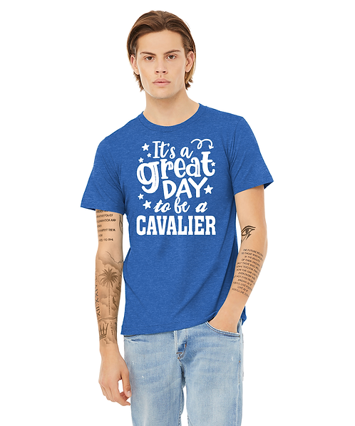 """Cunningham Cavaliers Heather Royal Blue """"It's a great day to be a Cavalier"""""""