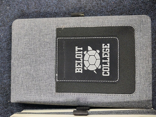"""College Store 5 1/4"""" x 8 1/4"""" Gray w/Black Leatherette Journal w/ Card Slot"""