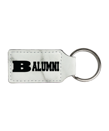 """Beloit College 2 3/4"""" x 1 1/4"""" White Marble Leatherette Rectangle Keychain"""