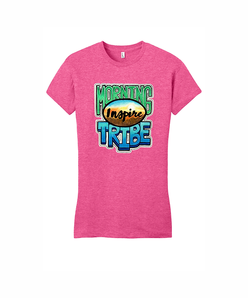 Women's Fitted Tee w/ Direct to Garment Morning Tribe Design