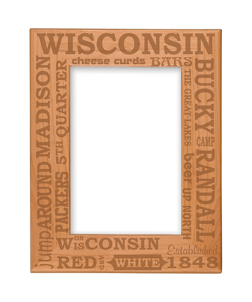 "Wisconsin Sayings 4""x6"" Genuine Red Alder Picture Frame"