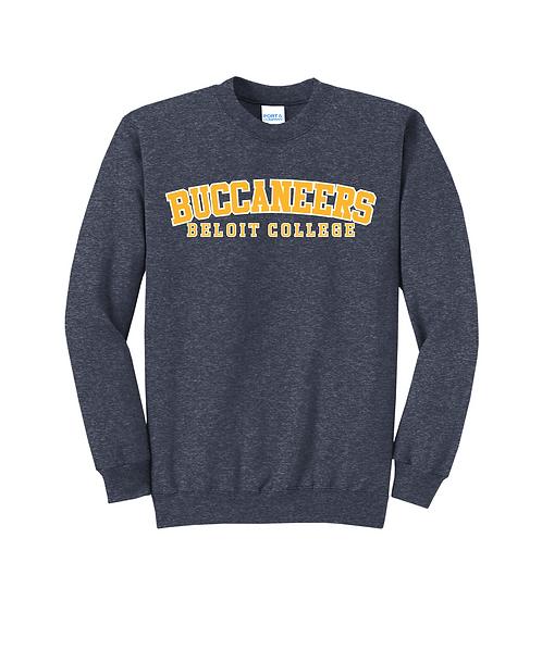 Beloit College Heather Navy Arched Buccaneers Fleece Crewneck Sweatshirt