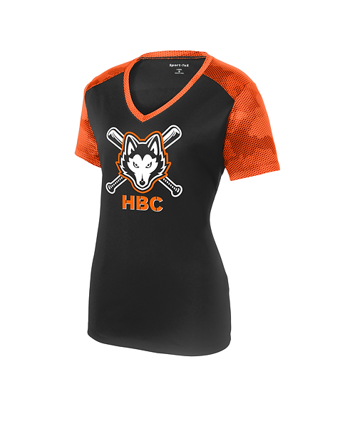 Harlem Huskies Ladies CamoHex Colorblock Tee