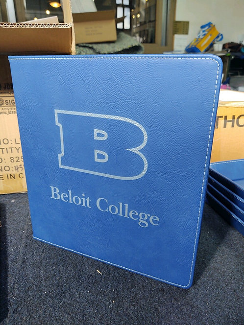 """College Store 10 1/2""""x11 1/2"""" Blue/Silver Leatherette 3 Ring Binder w/1"""" Rings"""
