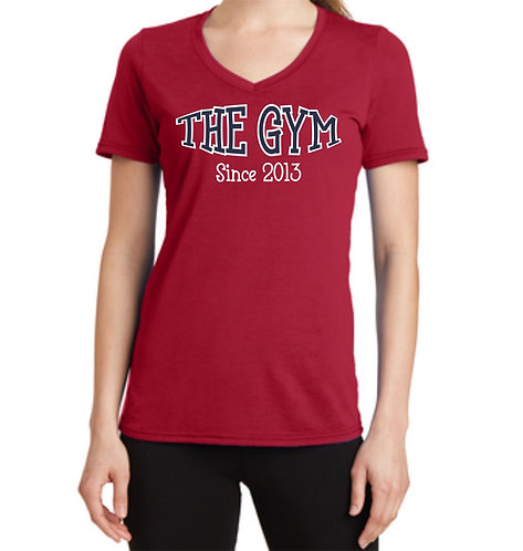 The Gym- Port & Company® Ladies Performance Blend V-Neck Tee
